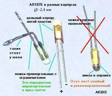 различие ИК диодов АЛ107Б.